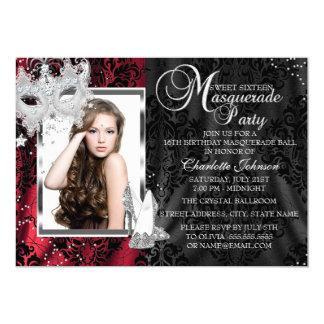 Elegant Mask & Heels Red Masquerade Sweet 16 5x7 Paper Invitation Card