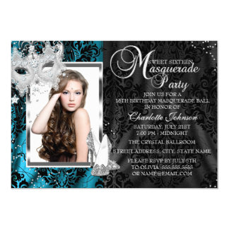Elegant Mask & Heels Teal Masquerade Photo Sweet16 5x7 Paper Invitation Card