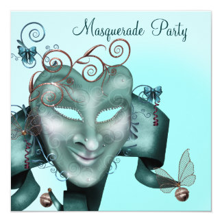Elegant Mask Teal Blue Masquerade Party Card