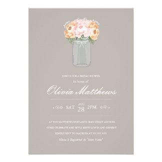 Elegant Mason Jar Bridal Shower Invitation