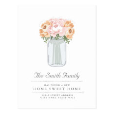 Elegant Mason Jar Moving Announcement Postcard at Zazzle