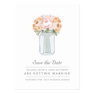Elegant Mason Jar Save the Date Postcard
