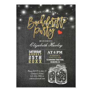 Elegant Mason Jar String Lights Bachelorette Party Card