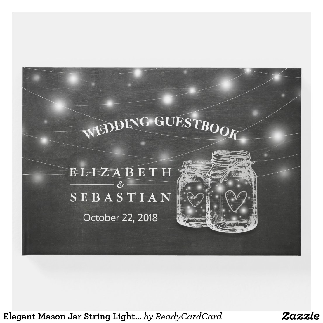 Elegant Mason Jar String Lights Chalkboard Wedding Guest Book