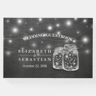 Elegant Mason Jar String Lights Chalkboard Wedding Guest Book