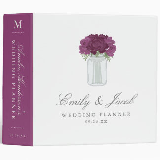 Elegant Mason Jar Wedding 3 Ring Binder