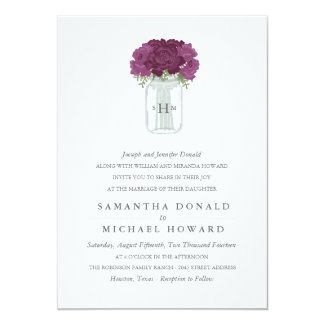 Elegant Mason Jar Wedding Invitations
