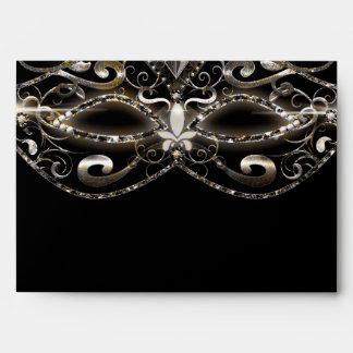 Elegant Masquerade Mardi Gras Black Envelope