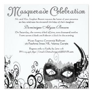 """Elegant Masquerade Swirl Invite [Black] 5.25"""" Square Invitation Card"""