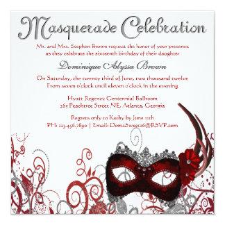 """Elegant Masquerade Swirl Invite [Red] 5.25"""" Square Invitation Card"""