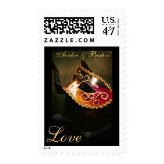 Elegant Masqurade Mask Gold Love Postage