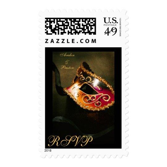 Elegant Masqurade Mask Gold RSVP Postage