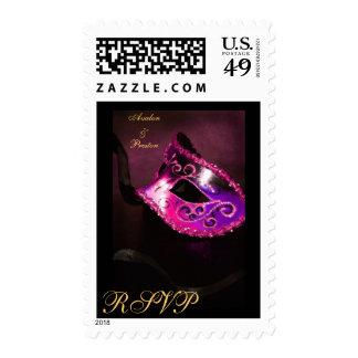 Elegant Masqurade Mask Pink RSVP Postage