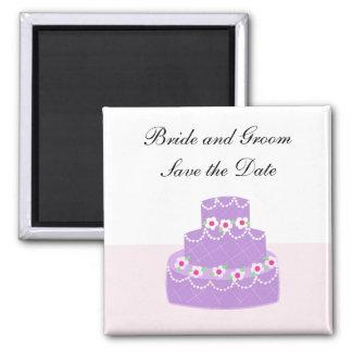 Elegant Mauve Cake Save The Date Magnet
