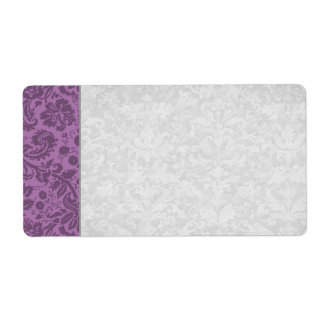 Elegant Mauve Damask Wedding Label