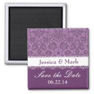 Elegant Mauve Damask Wedding magnet