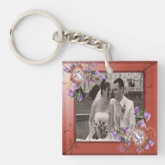 Elegant Mauve & Fancy Flowers Frame Custom Photo Keychain