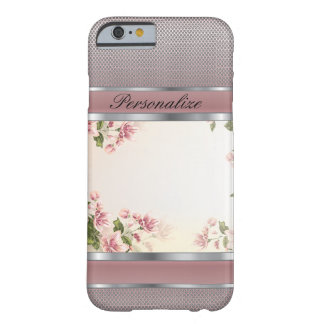 Elegant Mauve Floral and Silver Metal Design Barely There iPhone 6 Case