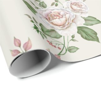 Elegant Mauve Roses and Gooseberries Seamless Wrapping Paper