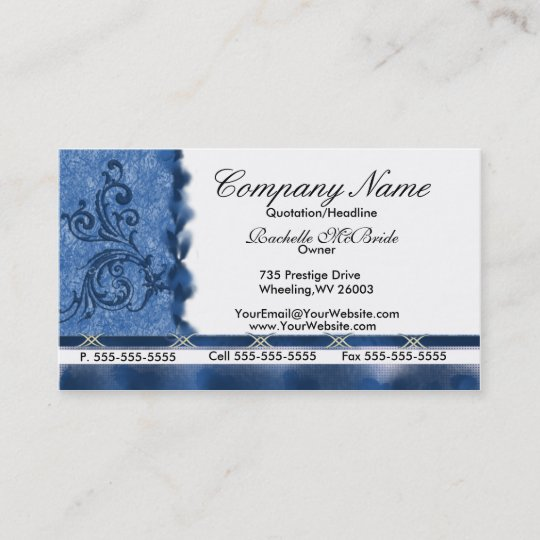Elegant Med Blue Embroidery Business Cards Zazzle Com