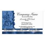 Elegant Med Blue Embroidery Business Cards