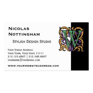 Elegant Medieval Green Letter W Monogram Business Card