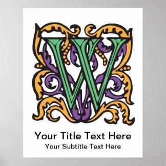 Elegant Medieval Green Letter W Monogram Posters