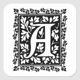 Elegant Medieval Illuminated Manuscript Letter A Square Sticker