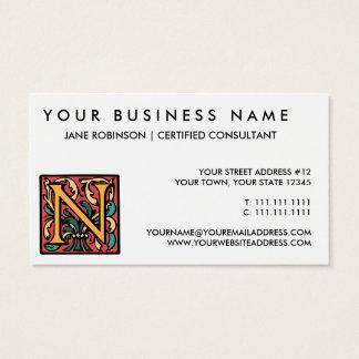 Elegant Medieval Initial N Antique Monogram Business Card