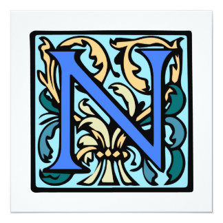 Elegant Medieval Initial N Antique Monogram Card