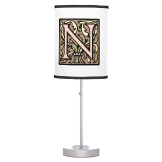 Elegant Medieval Initial N Antique Monogram Table Lamp