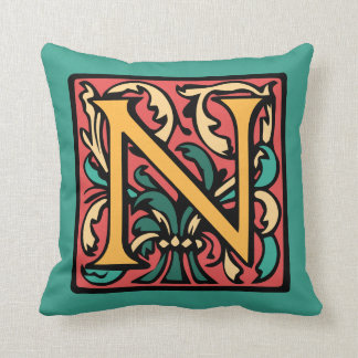 Elegant Medieval Initial N Antique Monogram Throw Pillow