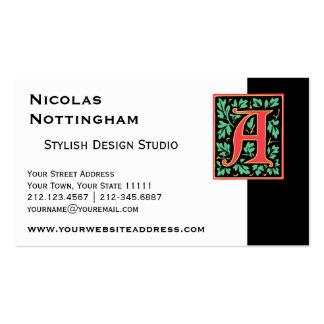 Elegant Medieval Letter A Antique Monogram Business Card
