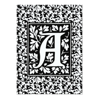 Elegant Medieval Letter A Antique Monogram Card