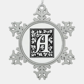 elegant medieval letter a antique monogram snowflake pewter christmas ornament