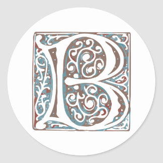 Elegant Medieval Letter B Antique Monogram Classic Round Sticker