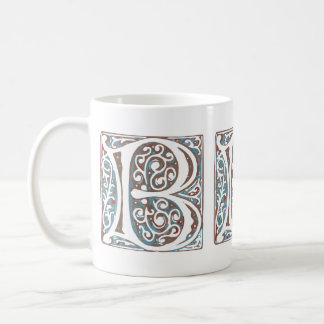 Elegant Medieval Letter B Antique Monogram Coffee Mug