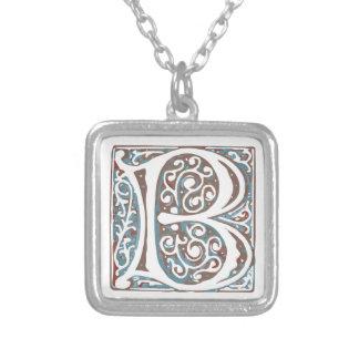 Elegant Medieval Letter B Antique Monogram Silver Plated Necklace