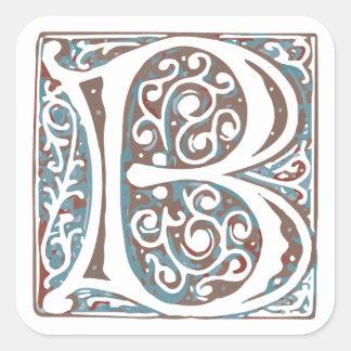 Elegant Medieval Letter B Antique Monogram Square Sticker