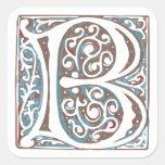 Elegant Medieval Letter B Antique Monogram Sticker