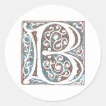 Elegant Medieval Letter B Antique Monogram Stickers