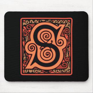 Elegant Medieval Letter S Antique Monogram Mouse Pad
