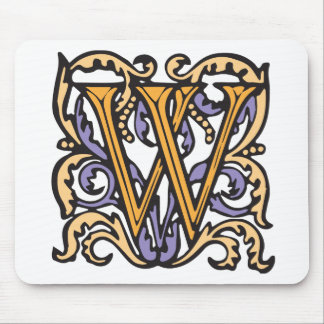 Elegant Medieval Letter W Antique Monogram Mouse Pad