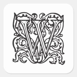 Elegant Medieval Letter W Antique Monogram Square Sticker