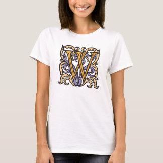Elegant Medieval Letter W Antique Monogram T-Shirt