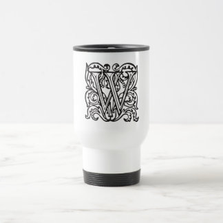 Elegant Medieval Letter W Antique Monogram Travel Mug