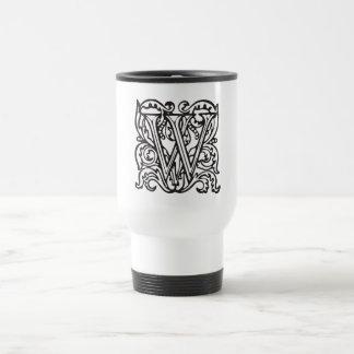 Elegant Medieval Letter W Antique Monogram Travel Mug