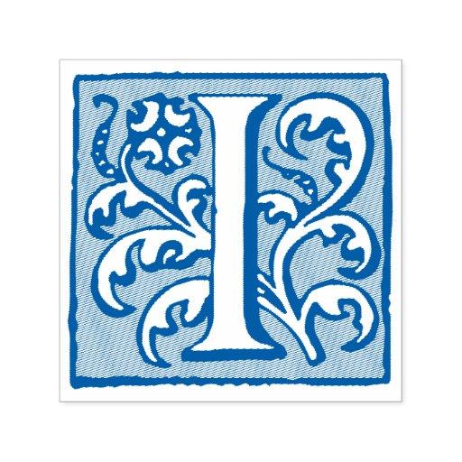 Elegant medieval manuscript letter i monogram self inking for Self inking letter stamps