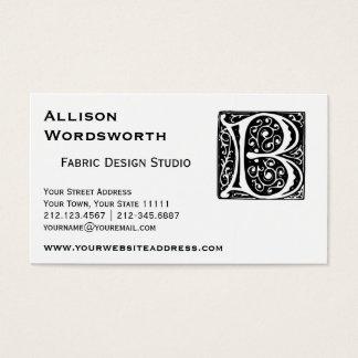 Elegant Medieval Renaissance Letter B Monogram Business Card