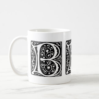 Elegant Medieval Renaissance Letter B Monogram Classic White Coffee Mug